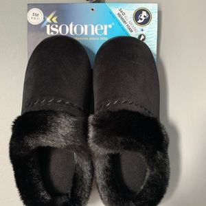 Black furry slippers